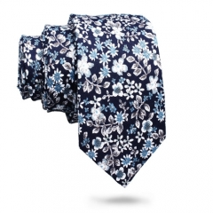 Skinny Cotton Floral Men Necktie
