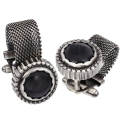 HAWSON Mens Cufflinks with Chain - Black Cats Eye Stone and Anti-silver Tone Shirt Accessories - Party Gifts for Young Men