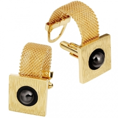 HAWSON Mens Cufflinks with Chain - Black Pearl Stone and Shiny Gold Tone Shirt Accessories - Party Gifts for Young Men