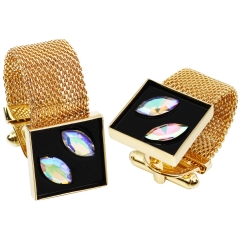 HAWSON Gold Plated Black Enamel wtih Crystal Inlaid Chain Cufflinks for French Cuffs/Shirts Garment Accessories/Ornament Gift/Present for Men
