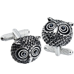 HAWSON Anti-Silver Plated Owl Cufflinks for French Cuffs/Shirts  Garment Accessories/Ornament Gift/Present for Men