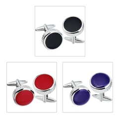 HAWSON Metal Cufflinks for French Cuffs/Shirts 3 Colors Enamel Inlaid Garment Accessories/Ornament Gift/Present for Men