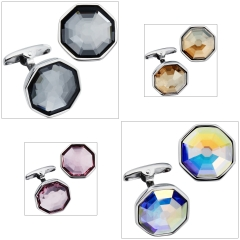 HAWSON Crystal Inlaid Cufflinks for French Cuffs/Shirts 4 Colors Garment Accessories/Ornament Gift/Present for Men