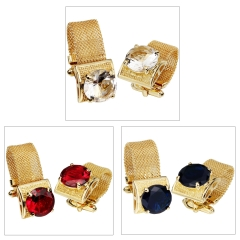 HAWSON Gold Plated 3 Colors Glass Inlaid Chain Cufflinks for French Cuffs/Shirts Garment Accessories/Ornament Gift/Present for Men