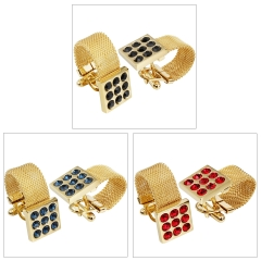 HAWSON Gold Plated 3 Colors Crystal Inlaid Chain Cufflinks for French Cuffs/Shirts Garment Accessories/Ornament Gift/Present for Men