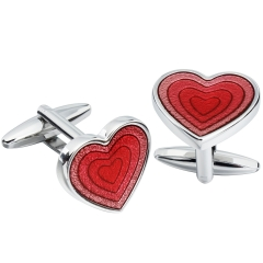 HAWSON Metal Cufflinks Red Heart-Shaped Crown for French Cuffs/Shirts Garment Accessories/Ornament Gift/Present for Men