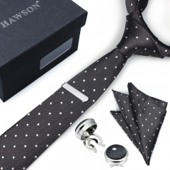 Men's Polka Dot Necktie Sets with Cufflinks Pocket Square and Tie Clip in Gift Box - HAWSON