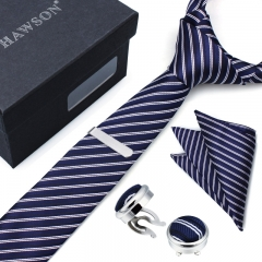 Striped Necktie Sets for Men with Cufflinks Pocket Square and Tie Clip in Gift Box - HAWSON