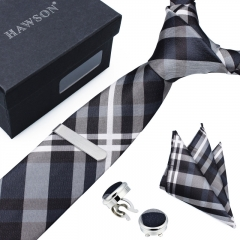 Checkered Necktie Sets for Men with Cufflinks Pocket Square and Tie Clip in Gift Box - HAWSON