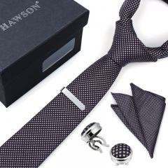 Men's Plaid Necktie Pocket Square Sets with Button Cover Cufflinks and Tie Clip in Gift Box