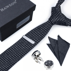 Polka Dot Necktie Sets for Men with Cufflinks Pocket Square and Tie Clip in Gift Box - HAWSON