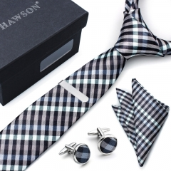 Mens Gingham Tie, Pocket Square Set with Cuff Links and Tie Clip in Gift Box - HAWSON
