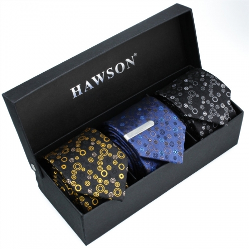 Men's 3 pcs Cotton Necktie Set with One piece 1.375 inch tie clip - HAWSON