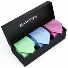 Men's 3 pcs Solid Satin Necktie Set with One piece 1.375inch tie clip - HAWSON