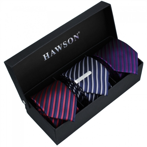 3 pcs Striped Necktie Set for Men with One piece 1.375 inch tie clip - HAWSON