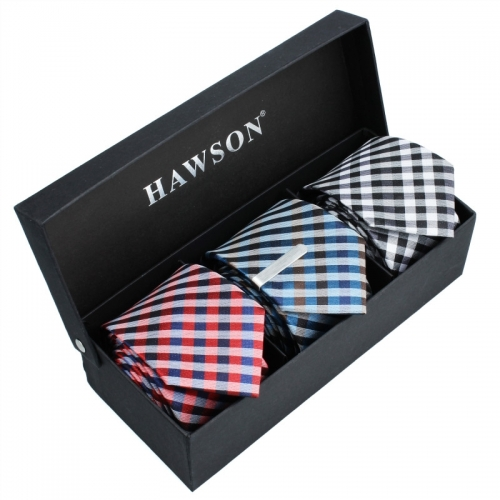 3 pcs Necktie Set for Men in Classical Plaid with One piece 1.37 inch tie clip - HAWSON