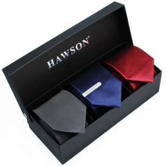 Men's 3 pcs Solid Satin Necktie Set with One piece 1.375 inch tie clip - HAWSON