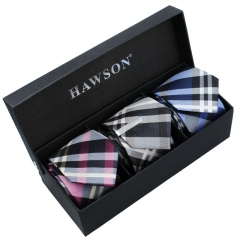 Men's 3 pcs Necktie Set in Classical Grid Pattern with One piece 1.375 inch tie clip - HAWSON