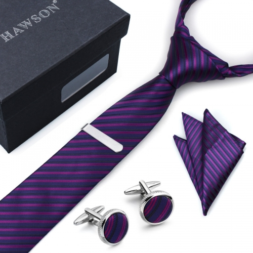 Men's Striped Tie Pocket Square Set with Cuff Links and Tie Clip in Gift Box - HAWSON