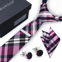 Mens Checkered  Tie Pocket Square Set with Cuff Links and Tie Clip in Gift Box - HAWSON