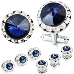 HAWSON 2+6 Crystal Inlaid Cufflinks & Studs Set for Tuxedo Shirts Gift/Present for Men