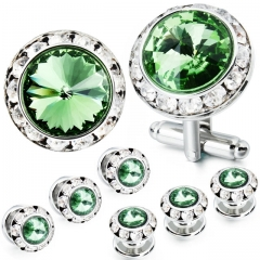 HAWSON 2+6 Peridot Crystal Inlaid Cufflinks & Studs Set for Tuxedo Shirts Gift/Present for Men