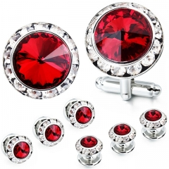 HAWSON 2+6 Light Siam Crystal Inlaid Cufflinks & Studs Set for Tuxedo Shirts Gift/Present for Men