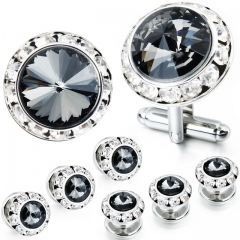 HAWSON 2+6 Montana Crystal Inlaid Cufflinks & Studs Set for Tuxedo Shirts Gift/Present for Men