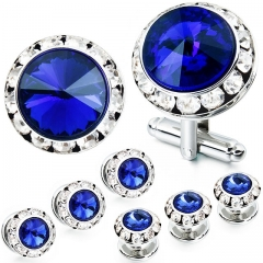 HAWSON 2+6 Sapphire Crystal Inlaid Cufflinks & Studs Set for Tuxedo Shirts Gift/Present for Men