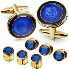 Starry Blue Enanel Inlaid Cufflinks and Studs Set for Men Tuxedo Shirts