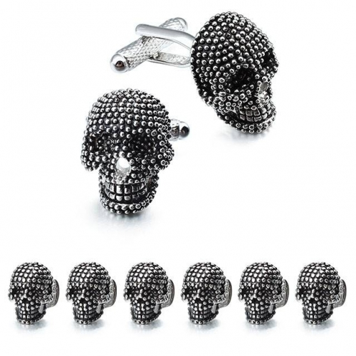 Skull Black Cufflinks and Dress Shirt Studs Sets for Men-HAWSON