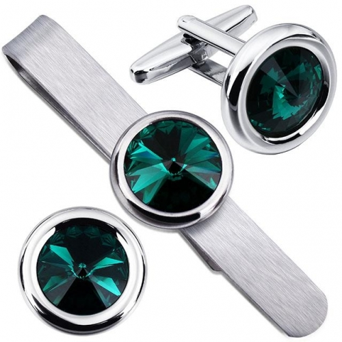 Men Green Swarovski Crystal Cufflinks and Tie Clips Set for Business Wedding