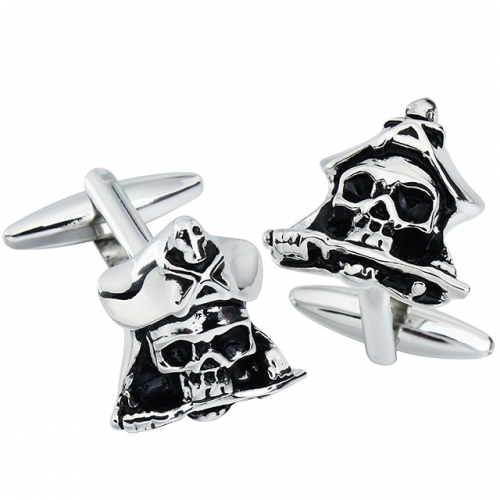 Metal Cufflinks Pirate Skull Crown for French Cuffs/Shirts-HAWSON