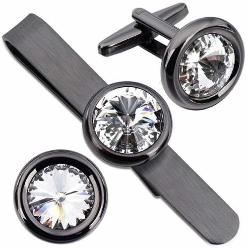Men Gunmetal Swarovski Crystal Cufflinks and Tie Clips Set for Business Wedding