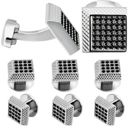 2+6 Square Cufflinks & Studs Set for Men