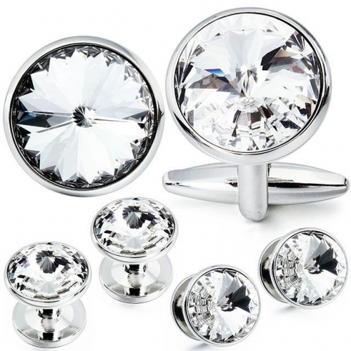 Cufflink and Tuxedo Studs Sets Silver Color with Imitated Crystal