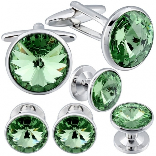 Cufflink and Tuxedo Studs Sets Peridot Color with Imitated Crystal