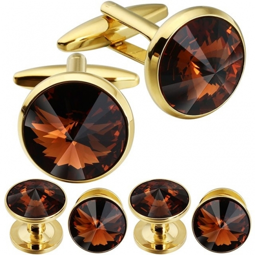 Cufflink and Tuxedo Studs Sets Smoked Topaz Color with Imitated Crystal