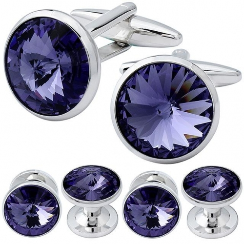 Cufflink and Tuxedo Studs Sets Tanzanite Color with Imitated Crystal