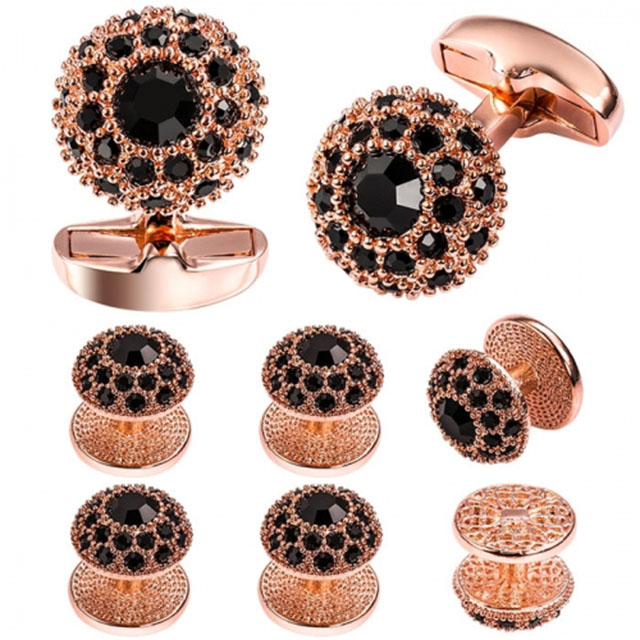 Mahogany Cufflink and Tuxedo Studs Sets For Men