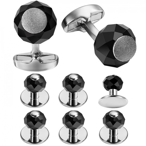 Black Cufflink and Tuxedo Studs Sets For Men