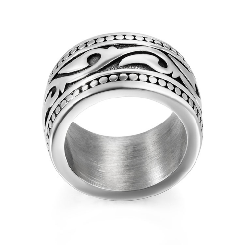 Stainless steel rings for men with sculpted reliefs design