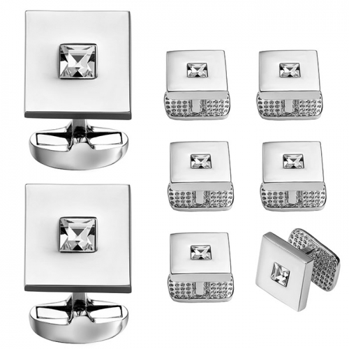Silver Plated Cufflink and Tuxedo Studs Sets For Men