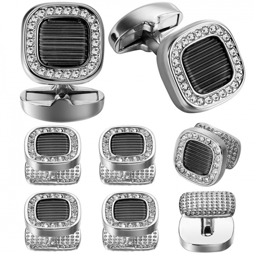 Gray Cufflink and Tuxedo Studs Sets For Men