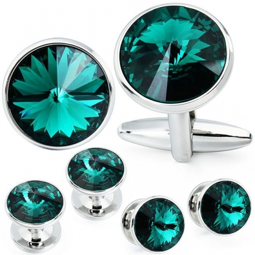 Cufflink and Studs  Tuxedo Set Green Color with Swarovski Crystals