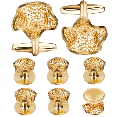 Gold Plated Cufflink and Tuxedo Studs Sets For Men